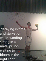 Photo of performance experiment at KWMC, text by Conner Segesdy